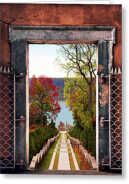Portal To Autumn Greeting Card by Jessica Jenney
