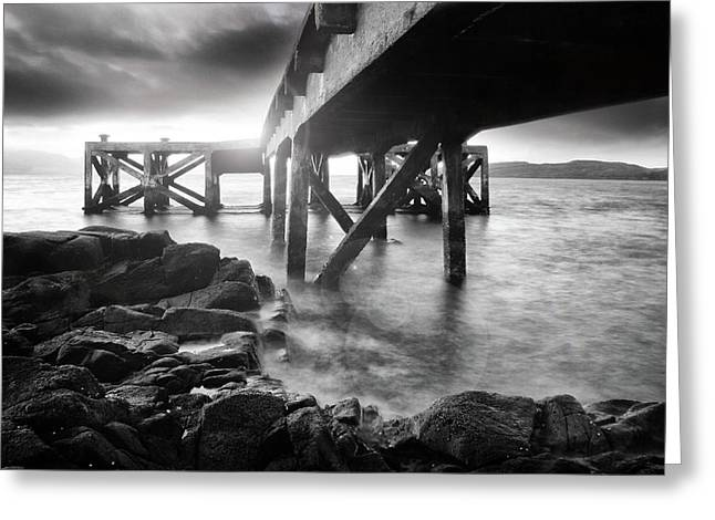 Portencross Pier In Ayrshire Greeting Card by Les McLuckie
