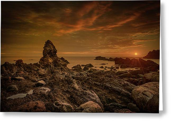 Porth Saint Beach At Sunset. Greeting Card by Andy Astbury