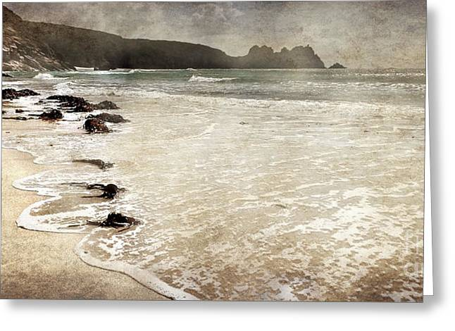 Porthcurno With Textures Greeting Card by Linsey Williams