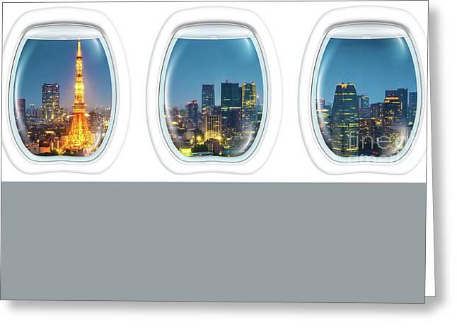 Porthole Frame On Tokyo Tower Greeting Card