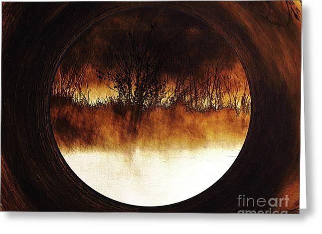 Porthole To Swamped Planet Greeting Card by Kim Pate