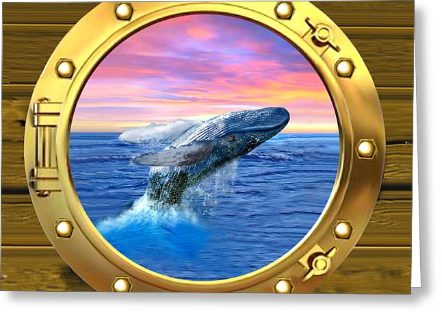 Porthole View Of Breaching Whale Greeting Card