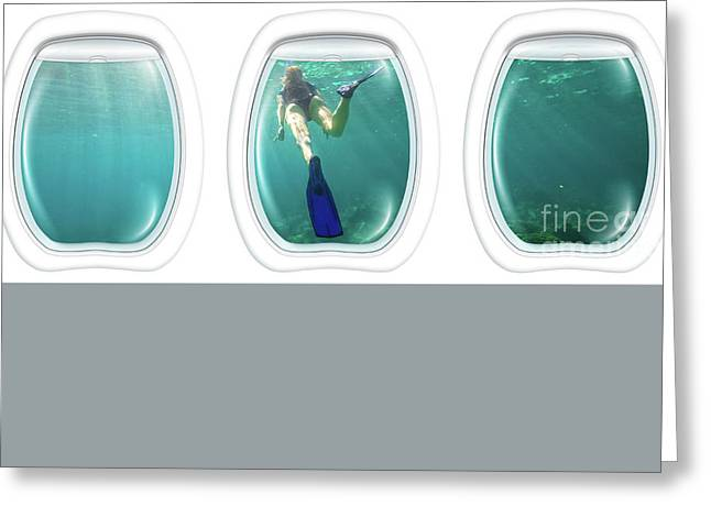 Porthole Windows On Coral Reef Greeting Card