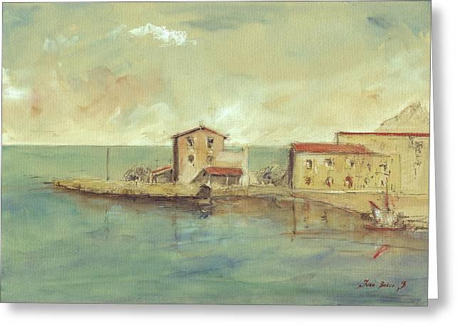 Porticello Santa Flavia  Seascape At Sicily Palermo Greeting Card
