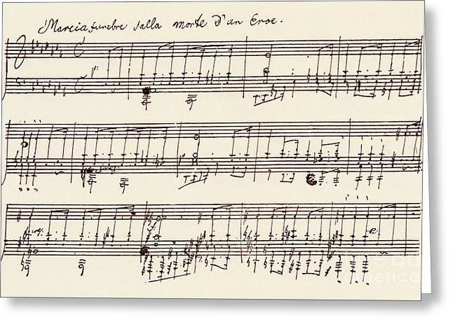 Portion Of The Manuscript Of Beethoven's A Flat Major Sonata, Opus 26 Greeting Card by Beethoven
