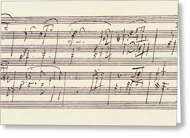 Portion Of The Manuscript Of Beethoven's Sonata In A, Opus 101 Greeting Card by Beethoven
