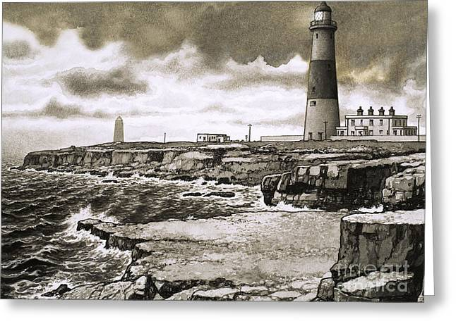 Portland Bill Greeting Card by Pat Nicolle