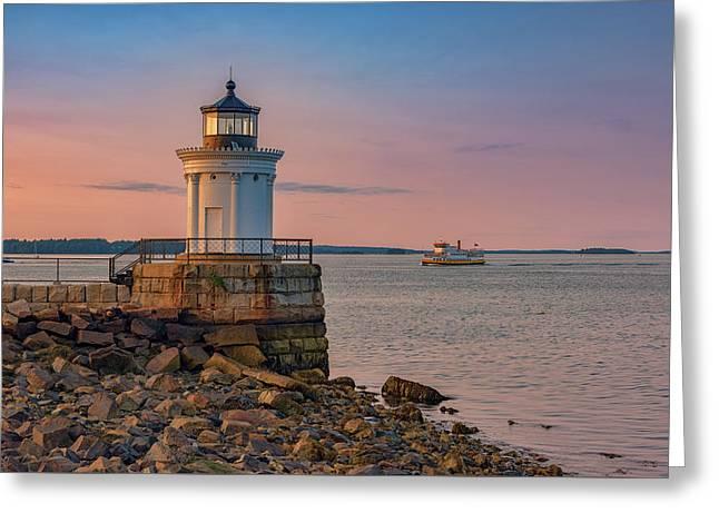 Portland Breakwater Lighthouse At Dusk Greeting Card