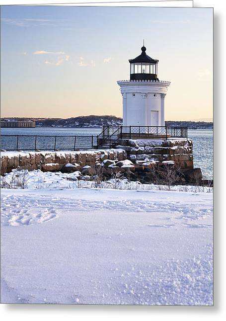 Portland Breakwater Lighthouse Greeting Card by Eric Gendron