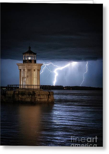 Portland Breakwater Lighthouse Greeting Card by Scott Thorp