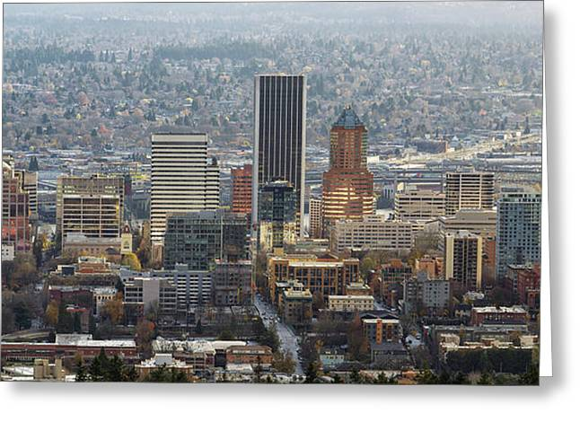 Portland City Downtown Cityscape Panorama Greeting Card by David Gn