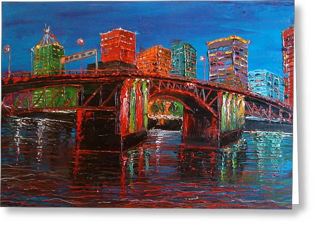 Portland City Lights Over The Morrison Bridge Greeting Card by Portland Art Creations