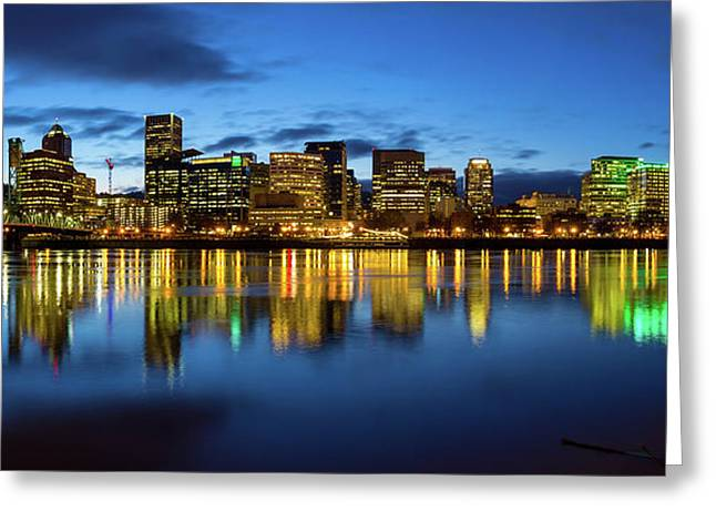 Portland City Skyline Blue Hour Panorama Greeting Card by David Gn