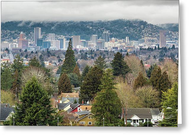 Portland City Skyline From Mount Tabor Greeting Card by David Gn
