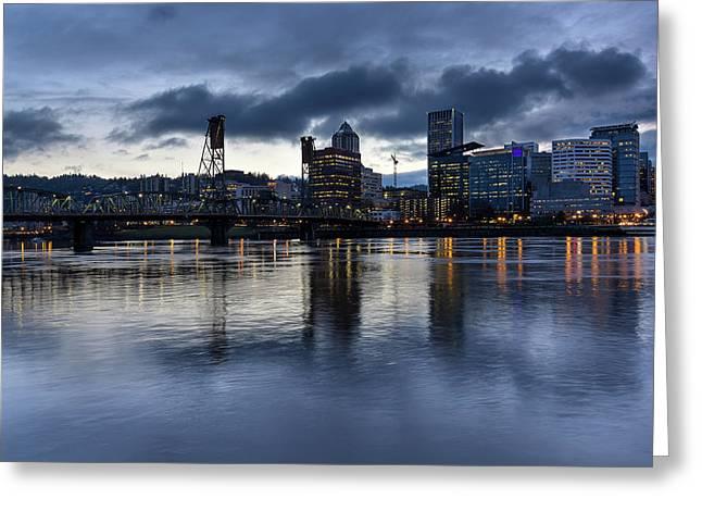 Portland City Skyline With Hawthorne Bridge At Dusk Greeting Card by David Gn