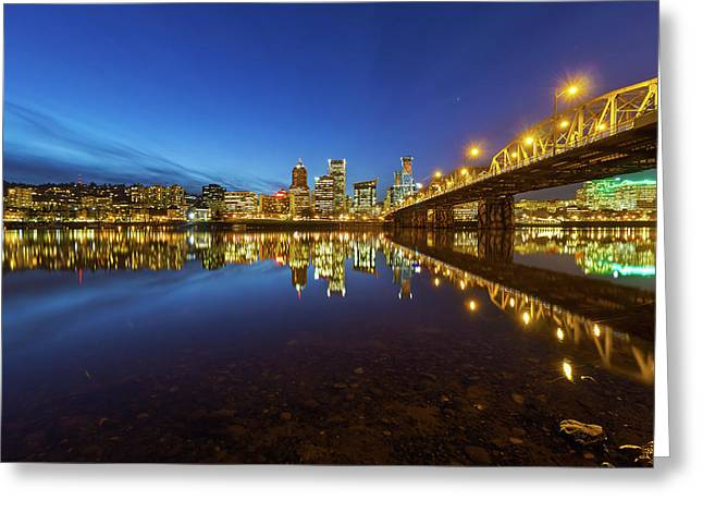 Portland Downtown Blue Hour Greeting Card