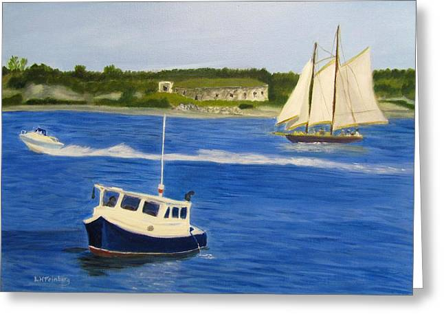 Greeting Card featuring the painting Portland Harbor by Linda Feinberg