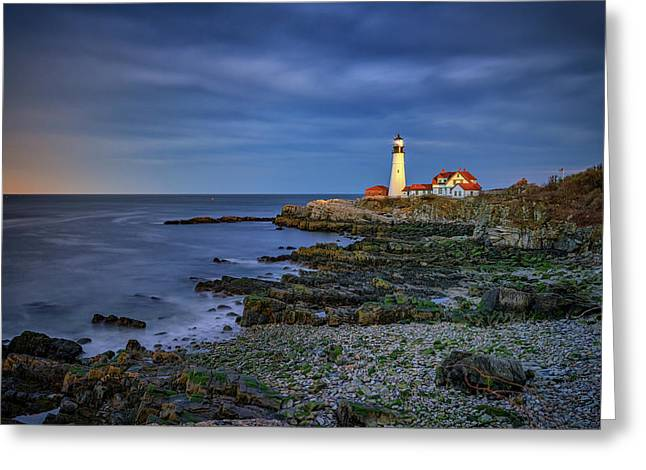 Portland Head Aglow Greeting Card by Rick Berk