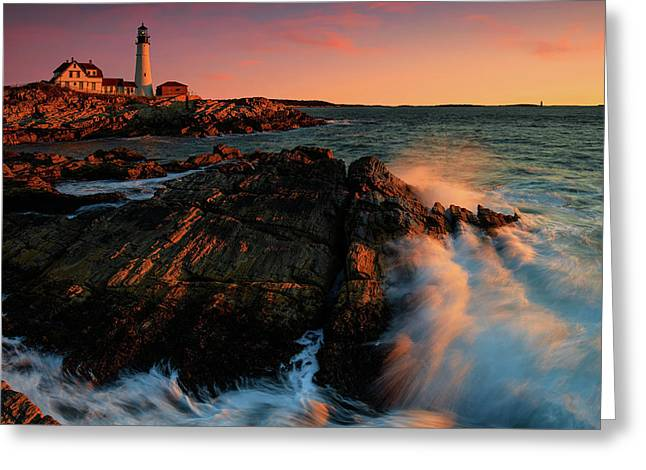 Greeting Card featuring the photograph Portland Head First Light  by Emmanuel Panagiotakis
