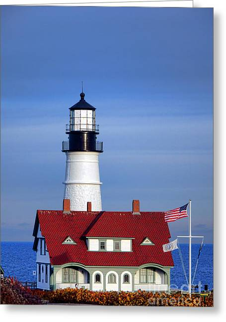 Portland Head Light And Keeper House Greeting Card by Olivier Le Queinec