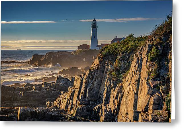 Portland Head Light And The Shores Of Casco Bay Greeting Card