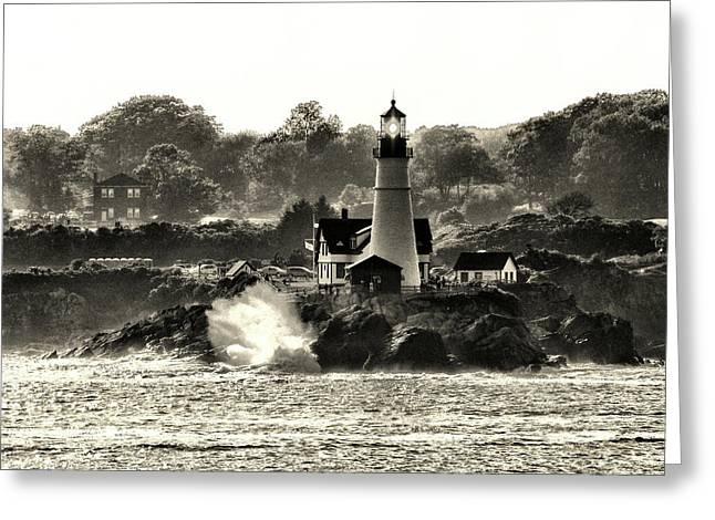 Portland Head Light At Cape Elizabeth In Black And White Greeting Card