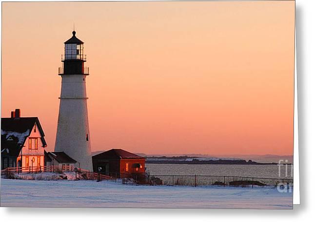 Portland Head Light At Dawn - Lighthouse Seascape Landscape Rocky Coast Maine Greeting Card by Jon Holiday