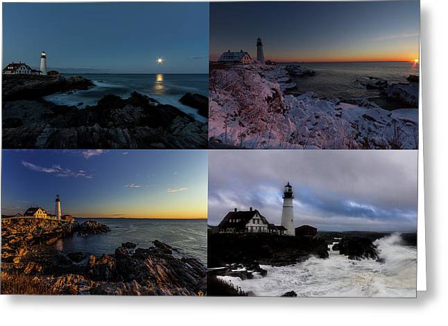 Portland Head Light Day Or Night Greeting Card