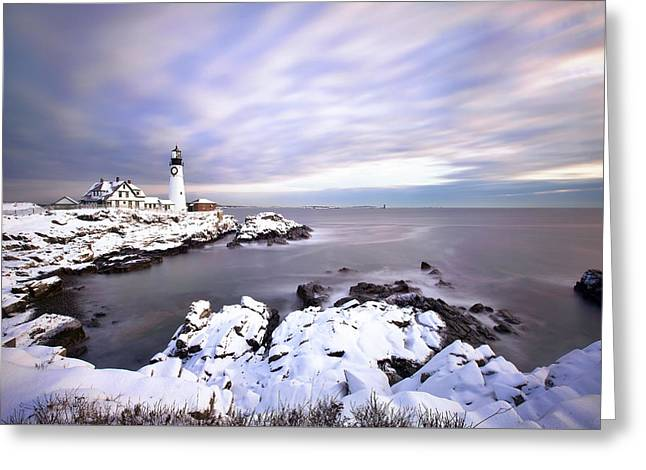 Portland Head Light Greeting Card by Eric Gendron