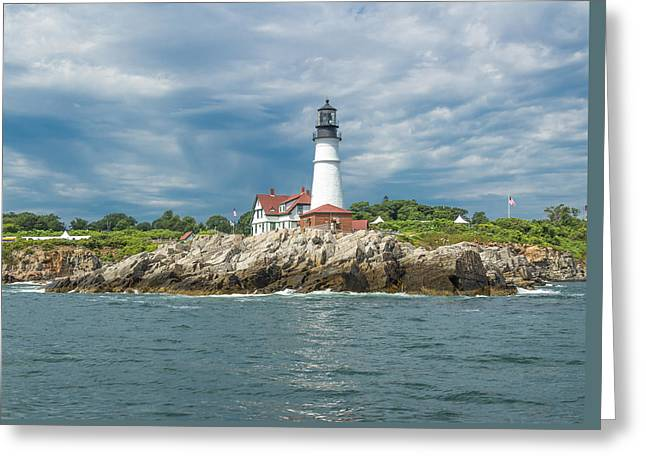 Portland Head Light From Casco Bay Greeting Card by Laurie Breton