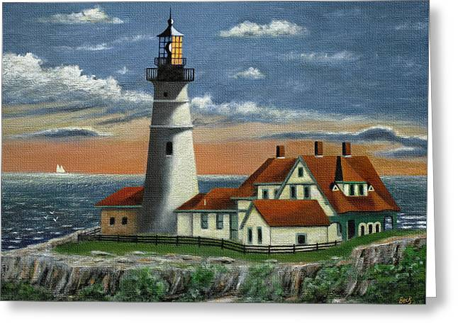 Portland Head Light Greeting Card by Gordon Beck