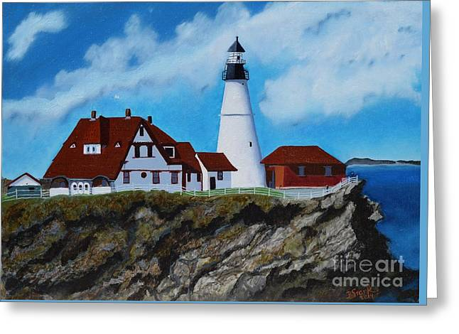 Portland Head Light In Maine Viewed From The South Greeting Card