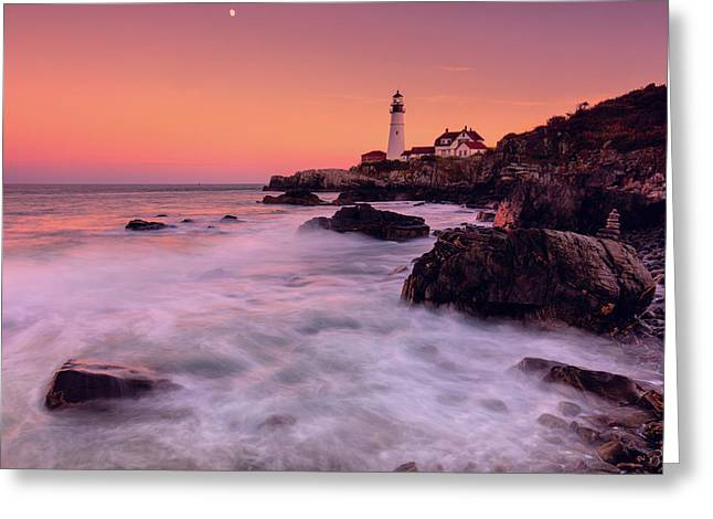 Greeting Card featuring the photograph Portland Head Light In Pink  by Emmanuel Panagiotakis