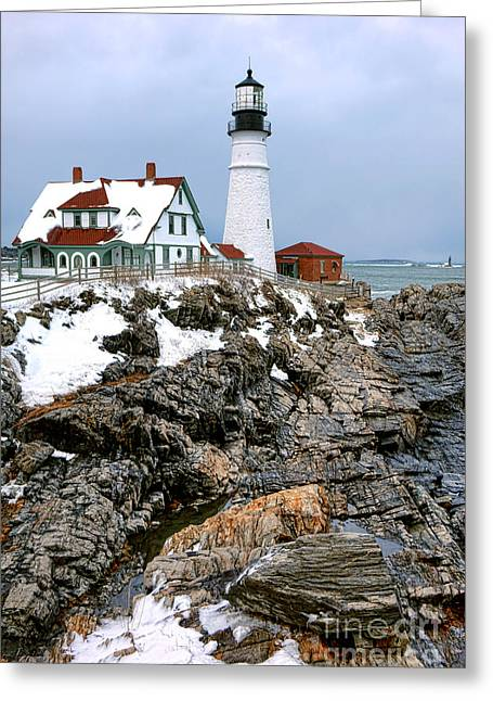 Portland Head Light In Winter Greeting Card by Olivier Le Queinec