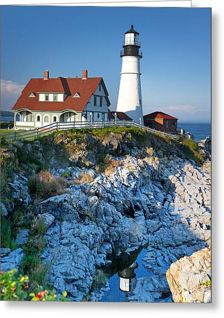 Portland Head Light Greeting Card by Jane Rix