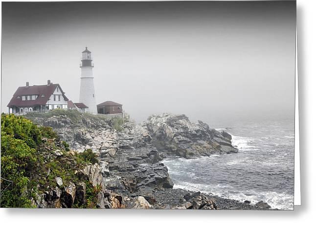 Portland Head Light On A  Foggy Day Greeting Card