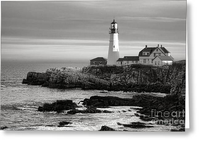 Portland Head Light On Casco Bay Greeting Card by Olivier Le Queinec