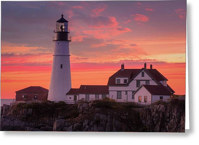 Greeting Card featuring the photograph Portland Head Light Sun Set  by Emmanuel Panagiotakis