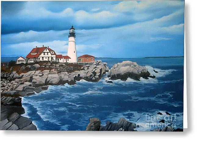 Portland Head Light Greeting Card by Tobi Czumak