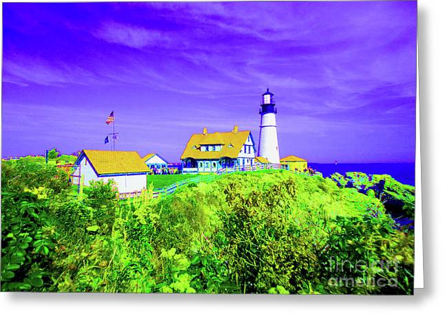 Portland Head Lighthouse Greeting Card by Ann Johndro-Collins