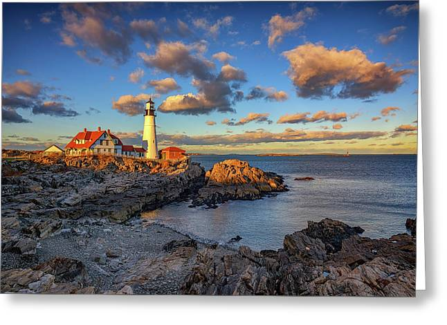 Portland Head Lighthouse At Sunset Greeting Card