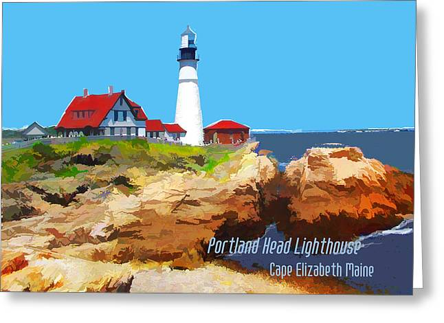 Portland Head Lighthouse Cape Elizabeth Maine Greeting Card by Elaine Plesser