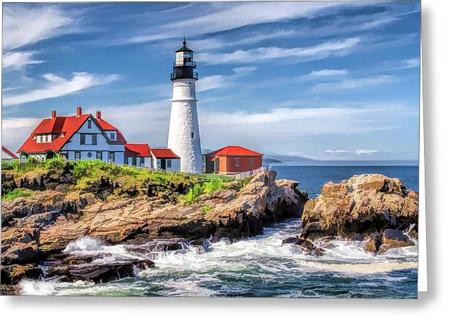 Greeting Card featuring the painting Portland Head Lighthouse by Christopher Arndt