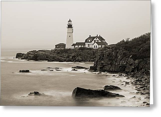 Portland Head Lighthouse Foggy Morning Sepia Greeting Card