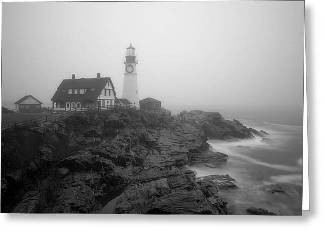 Portland Head Lighthouse In Fog Black And White Greeting Card