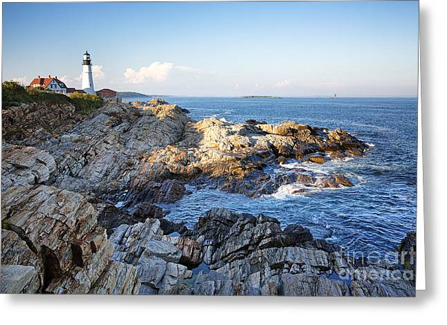 Portland Head Lighthouse Greeting Card by Jane Rix