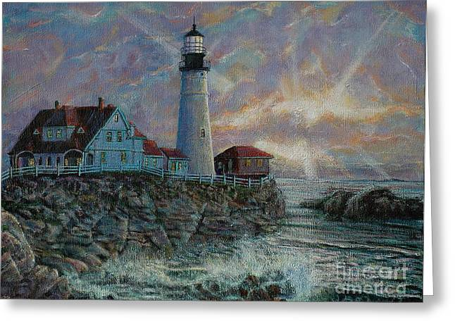 Portland Head Lighthouse Greeting Card by LeRoy Jesfield