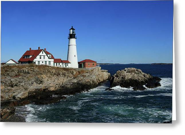 Portland Head Lighthouse Greeting Card by Lou Ford