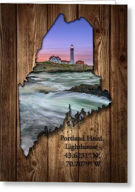 Portland Head Lighthouse Maine State Map Greeting Card